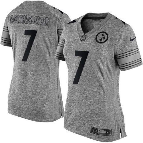Nike Steelers #7 Ben Roethlisberger Gray Women's Stitched NFL Limited Gridiron Gray Jersey