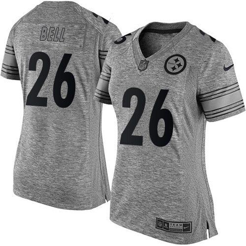 Nike Steelers #26 Le'Veon Bell Gray Women's Stitched NFL Limited Gridiron Gray Jersey