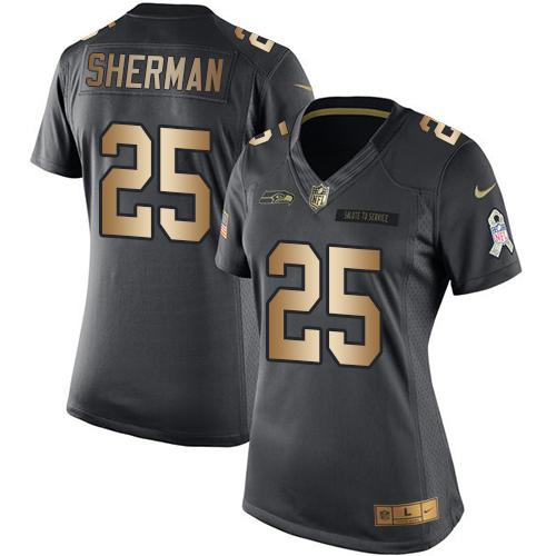 Nike Seahawks #25 Richard Sherman Black Women's Stitched NFL Limited Gold Salute to Service Jersey