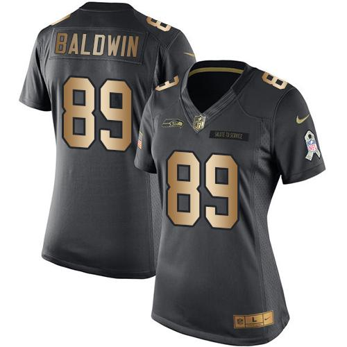 Nike Seahawks #89 Doug Baldwin Black Women's Stitched NFL Limited Gold Salute to Service Jersey