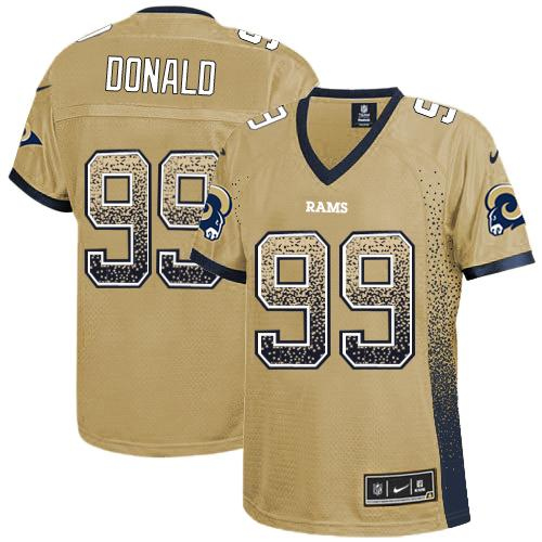 Nike Rams #99 Aaron Donald Gold Women's Stitched NFL Elite Drift Fashion Jersey