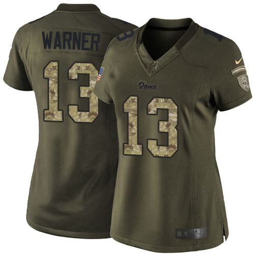 Nike Rams #13 Kurt Warner Green Women's Stitched NFL Limited Salute to Service Jersey