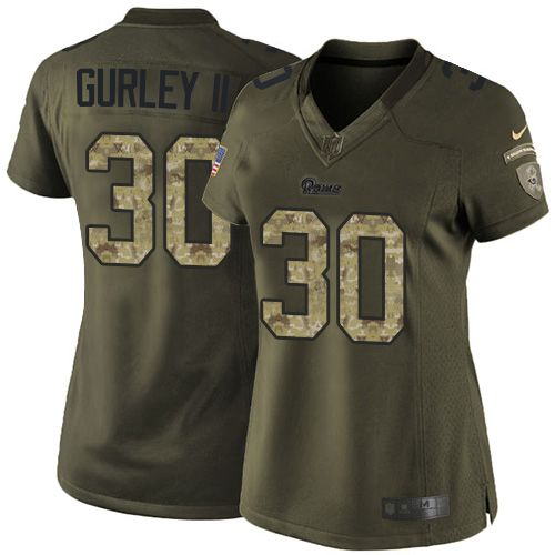 Nike Rams #30 Todd Gurley II Green Women's Stitched NFL Limited Salute to Service Jersey