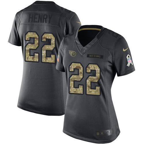 Nike Titans #22 Derrick Henry Black Women's Stitched NFL Limited 2016 Salute to Service Jersey