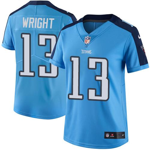 Nike Titans #13 Kendall Wright Light Blue Women's Stitched NFL Limited Rush Jersey