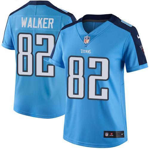 Nike Titans #82 Delanie Walker Light Blue Women's Stitched NFL Limited Rush Jersey
