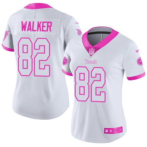 Nike Titans #82 Delanie Walker White/Pink Women's Stitched NFL Limited Rush Fashion Jersey