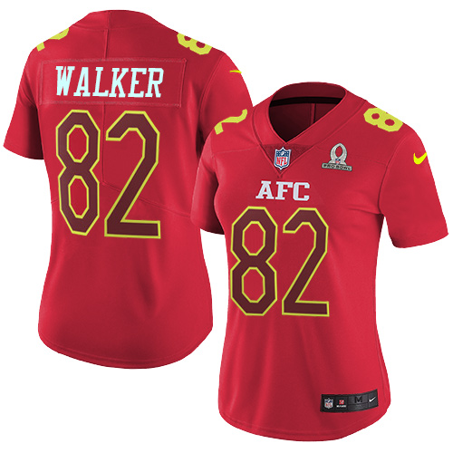 Nike Titans #82 Delanie Walker Red Women's Stitched NFL Limited AFC 2017 Pro Bowl Jersey