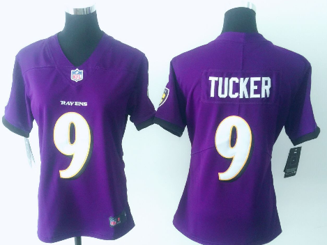 Women's Nike Baltimore Ravens #9 Justin Tucker Purple Vapor Untouchable Limited Stitched NFL Jersey