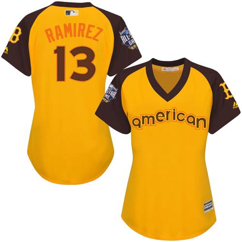 Red Sox #13 Hanley Ramirez Gold 2016 All-Star American League Women's Stitched MLB Jersey