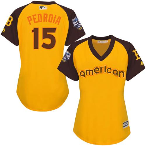 Red Sox #15 Dustin Pedroia Gold 2016 All-Star American League Women's Stitched MLB Jersey