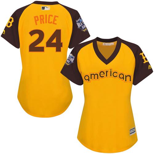Red Sox #24 David Price Gold 2016 All-Star American League Women's Stitched MLB Jersey