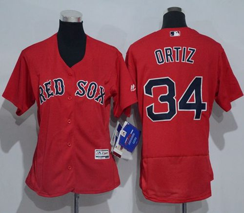 Red Sox #34 David Ortiz Red Flexbase Authentic Women's Stitched MLB Jersey