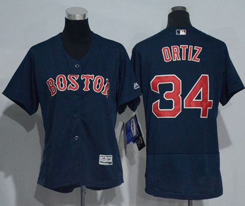Red Sox #34 David Ortiz Navy Blue Flexbase Authentic Women's Stitched MLB Jersey
