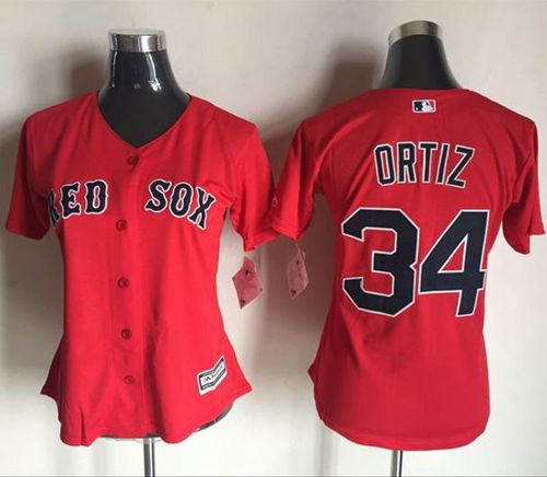 Red Sox #34 David Ortiz Red Women's Fashion Stitched MLB Jersey
