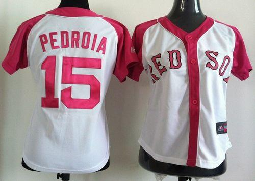 Red Sox #15 Dustin Pedroia White/Pink Women's Splash Fashion Stitched MLB Jersey