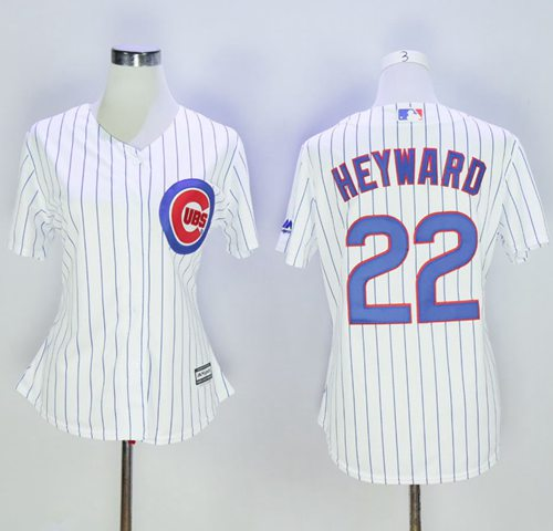 Cubs #22 Jason Heyward White(Blue Strip) Women's Home Stitched MLB Jersey