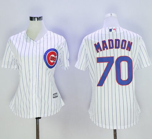 Cubs #70 Joe Maddon White(Blue Strip) Women's Home Stitched MLB Jersey