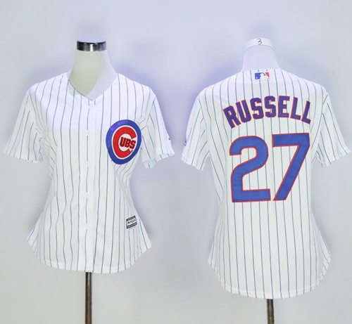 Cubs #27 Addison Russell White(Blue Strip) Women's Home Stitched MLB Jersey