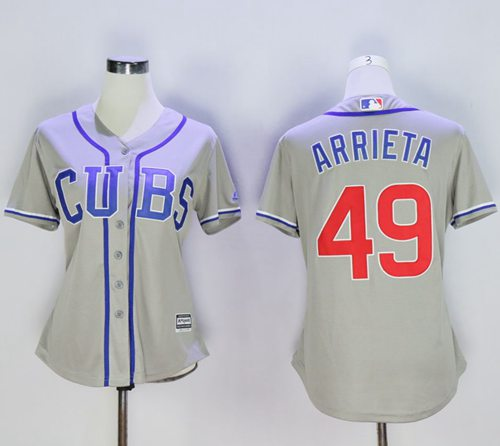 Cubs #49 Jake Arrieta Grey Women's Alternate Road Stitched MLB Jersey