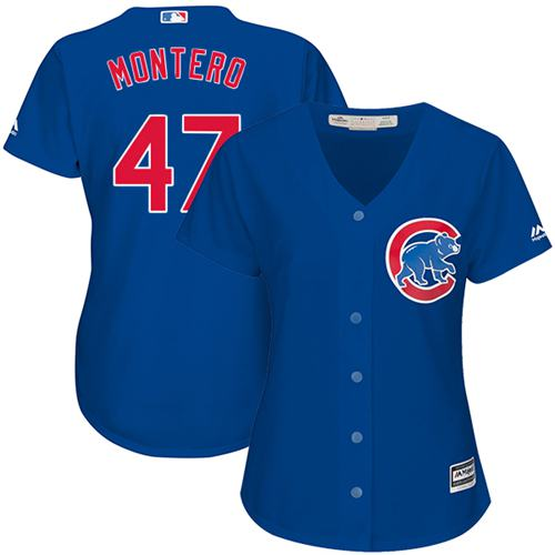Cubs #47 Miguel Montero Blue Alternate Women's Stitched MLB Jersey