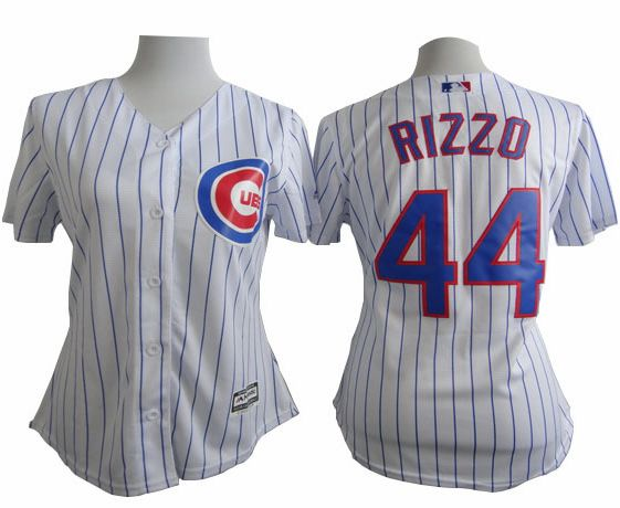 Cubs #44 Anthony Rizzo White(Blue Strip) Women's Fashion Stitched MLB Jersey