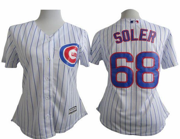 Cubs #68 Jorge Soler White(Blue Strip) Women's Fashion Stitched MLB Jersey