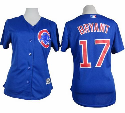 Cubs #17 Kris Bryant Blue Alternate Women's Stitched MLB Jersey