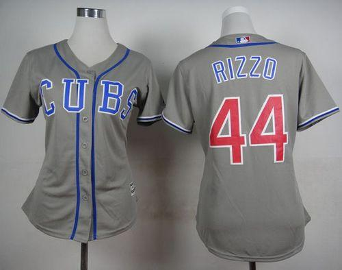 Cubs #44 Anthony Rizzo Grey Alternate Road Women's Stitched MLB Jersey