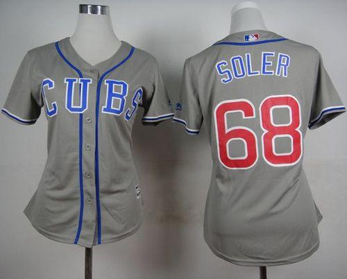 Cubs #68 Jorge Soler Grey Alternate Road Women's Stitched MLB Jersey
