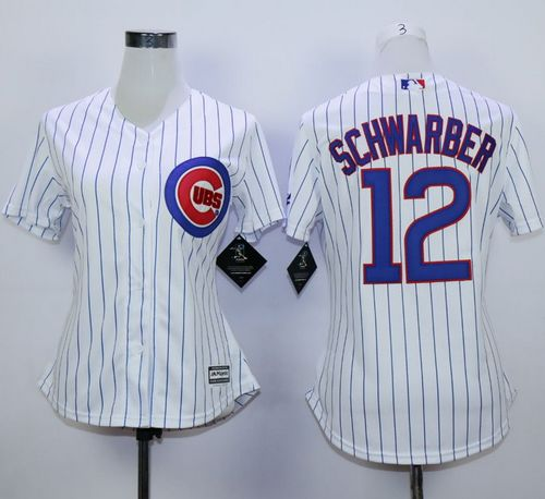 Cubs #12 Kyle Schwarber White(Blue Strip) Home Women's Stitched MLB Jersey