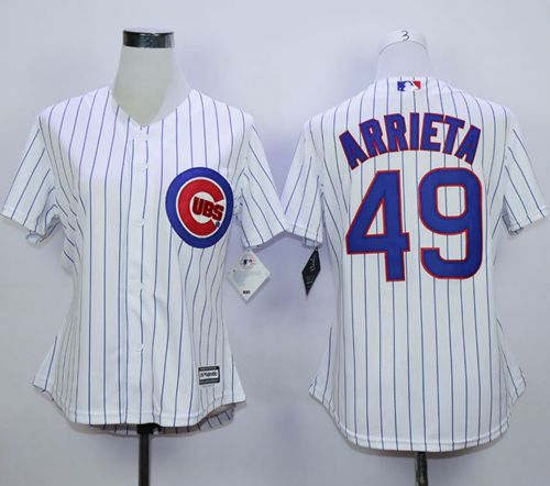 Cubs #49 Jake Arrieta White(Blue Strip) Home Women's Stitched MLB Jersey