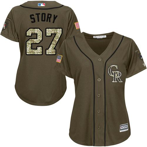 Rockies #27 Trevor Story Green Salute to Service Women's Stitched MLB Jersey