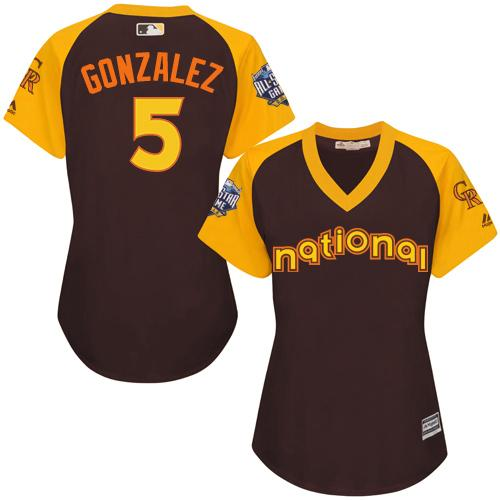 Rockies #5 Carlos Gonzalez Brown 2016 All-Star National League Women's Stitched MLB Jersey