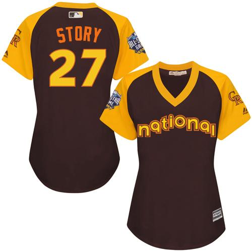 Rockies #27 Trevor Story Brown 2016 All-Star National League Women's Stitched MLB Jersey