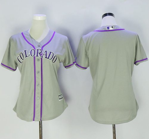 Rockies Blank Grey Women's Road Stitched MLB Jersey
