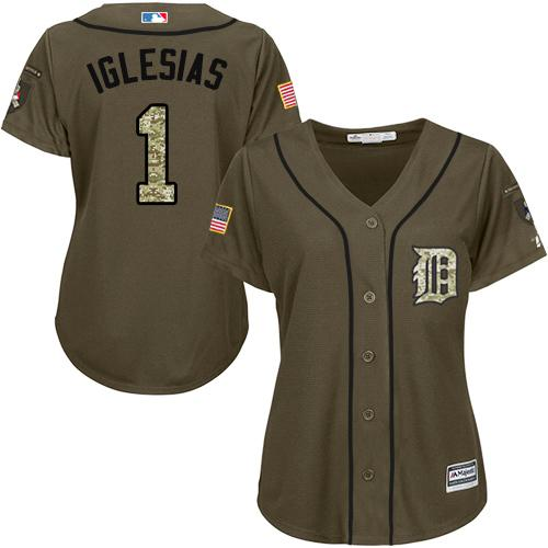 Tigers #1 Jose Iglesias Green Salute to Service Women's Stitched MLB Jersey