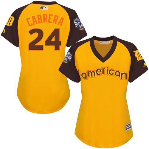 Tigers #24 Miguel Cabrera Gold 2016 All-Star American League Women's Stitched MLB Jersey