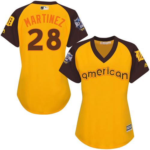 Tigers #28 J. D. Martinez Gold 2016 All-Star American League Women's Stitched MLB Jersey