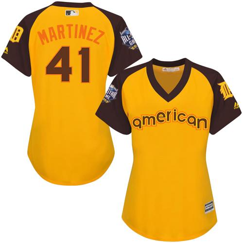 Tigers #41 Victor Martinez Gold 2016 All-Star American League Women's Stitched MLB Jersey