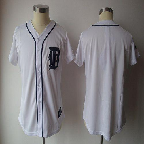 Tigers Blank White Women's Fashion Stitched MLB Jersey
