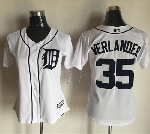 Tigers #35 Justin Verlander White Women's Fashion Stitched MLB Jersey