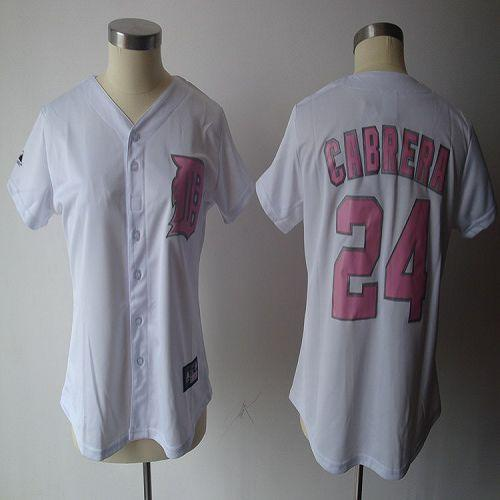 Tigers #24 Miguel Cabrera White Pink Number Women's Fashion Stitched MLB Jersey