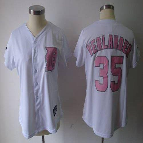 Tigers #35 Justin Verlander White Pink Number Women's Fashion Stitched MLB Jersey