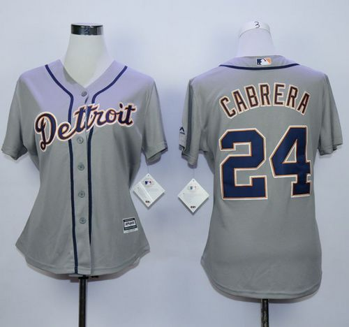 Tigers #24 Miguel Cabrera Grey Road Women's Stitched MLB Jersey