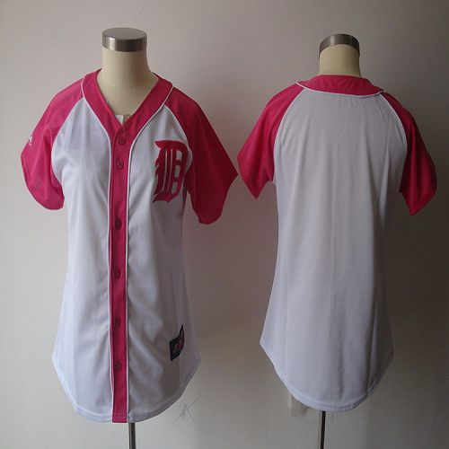 Tigers Blank White/Pink Women's Splash Fashion Stitched MLB Jersey