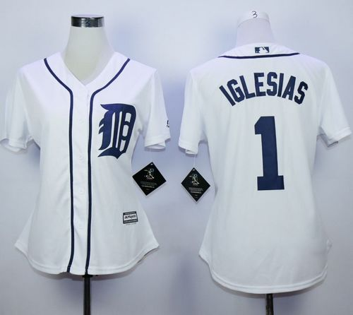 Tigers #1 Jose Iglesias White Home Women's Stitched MLB Jersey