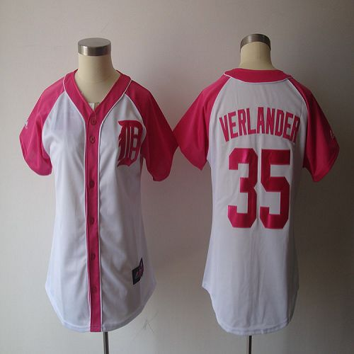 Tigers #35 Justin Verlander White/Pink Women's Splash Fashion Stitched MLB Jersey