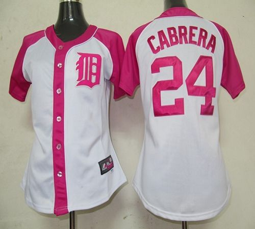 Tigers #24 Miguel Cabrera White/Pink Women's Splash Fashion Stitched MLB Jersey