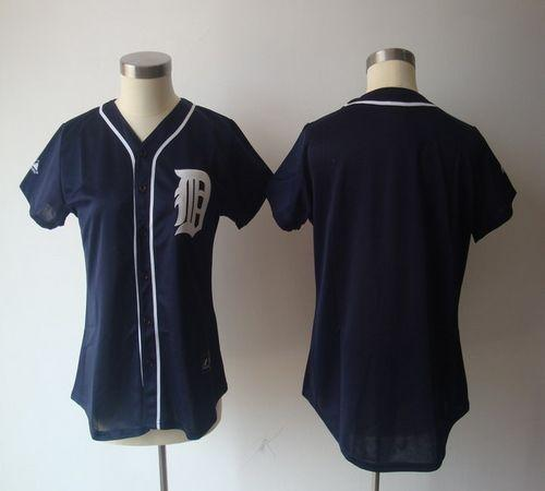 Tigers Blank Navy Blue Women's Fashion Stitched MLB Jersey